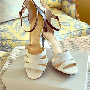 Jessica Simpson Black & Soft White Leather Sandals